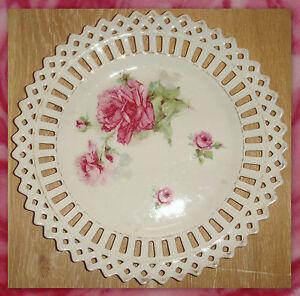 Assiette ancienne porcelaine ajouree decor de roses pour for Decoration sur porcelaine