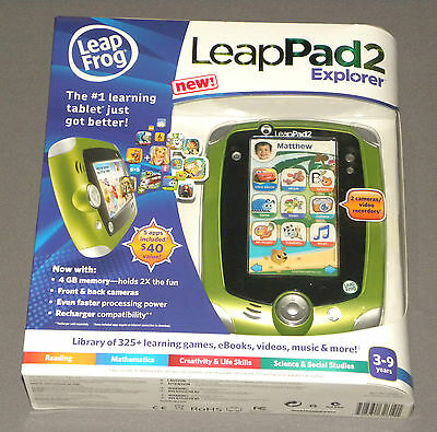Leap Frog Leap Pad Leappad 2 Explorer Green Boys Tablet 4 Gb 2 Cameras + 5 Apps
