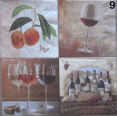 4 SERVIETTEN,Pfirsich Schmetterling Wein Rotwein Weinglas Glas