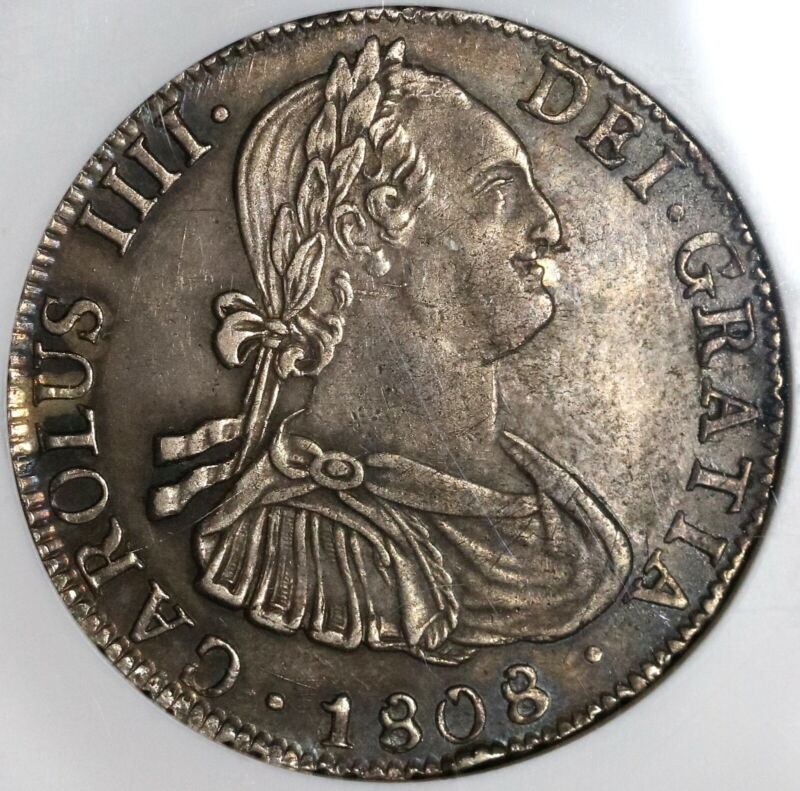 1808 NGC AU55 Bolivia 4 Reales Spain Colonial Silver Charles IV Coin (20060802C)