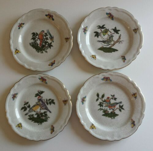 "Rare Set United Wilson JUWC 1897 China 6"" Bird Plates w Gold Trim Scallop Edges"