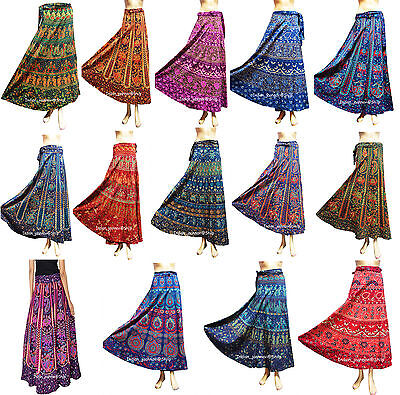 Ethnic Floral Rapron Sarong Long Indian Women Printed Cotton Wrap Around Skirt