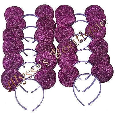 Minnie Mickey Mouse Ears Headbands 20 pc Shiny PURPLE Birthday Party Costume DIY - Diy Mickey Mouse Costume