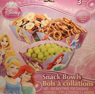 Party Snack Bowls DISNEY PRINCESSES Ariel Treats Birthday Supplies 3 pack - Ariel Birthday Party