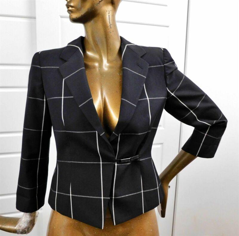 Armani Collezioni Black Gray Window Pane Jacket Blazer Italy sz 8