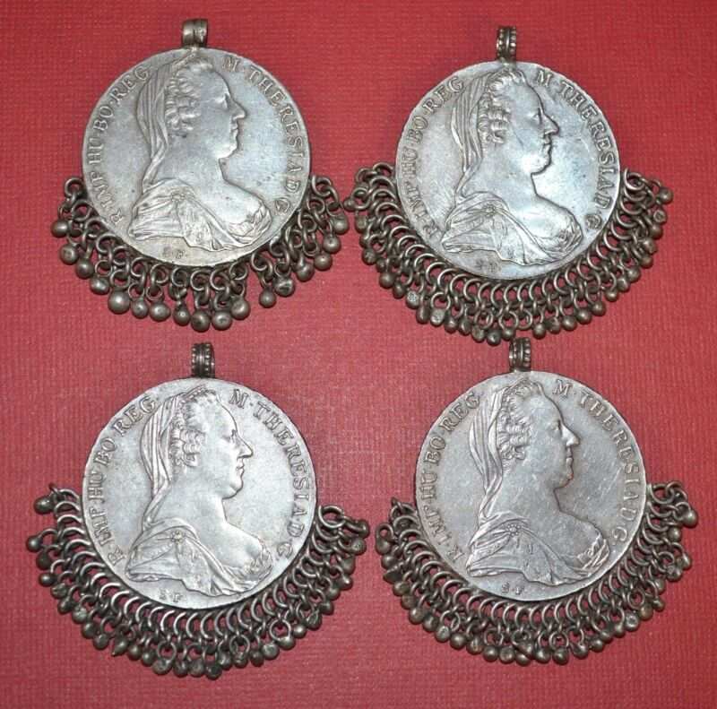 Antique Maria Theresa Thaler Silver Coin Medallion Pendants W Dangles From Yemen