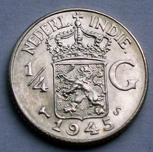 NETHERLANDS EAST INDIES 1/4 GULDEN 1942 S UNC Silver K10.7