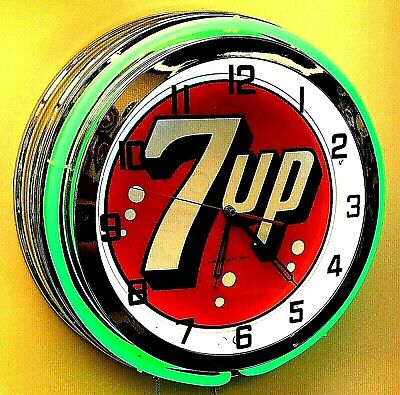 "19"" 7UP Vintage Sign Double Green Neon Clock Mancave Bar 7 UP"