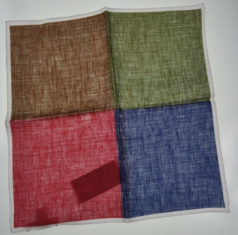 RODA Quadrant Print Linen Pocket Square Pochette ~ Made in Italy