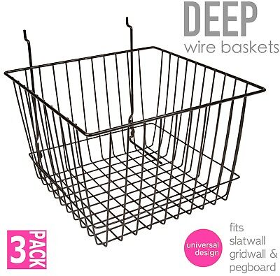 Only Hangers Deep Wire Baskets For Gridwall Slatwall And Pegboard - Black 3pk