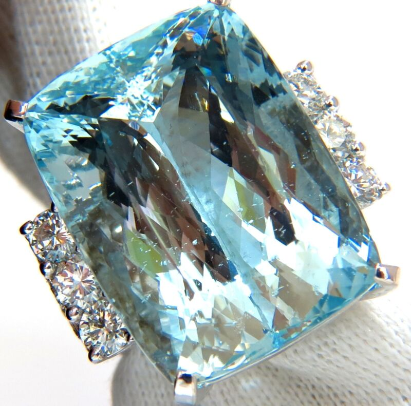 $29,000 Gia 39.10ct Natural Cushion Cut Aquamarine Diamonds Ring 14kt Vivid Aqua