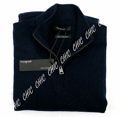 M & S Mens Autograph Pure Cashmere Half Zip Funnel Neck Jumper Sweater BNWT