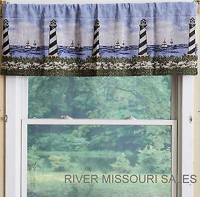 Valance Tapestry - Nautical Lighthouses, Sailboats, Blue Sky Tapestry Window Valance, 54