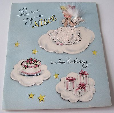 Used Vtg Greeting Card Cute Norcross Angel w Feather Wings on Cloud