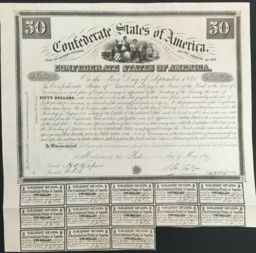$50 Confederate States Coupon Bond – Criswell 5, Ball 2