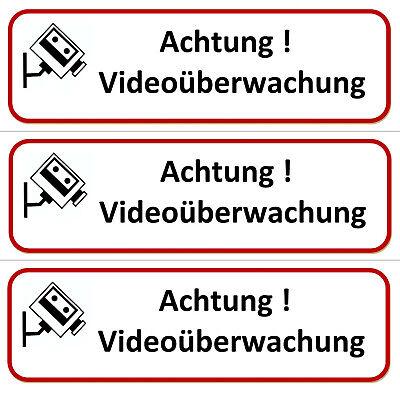 ☆ 3 x Aufkleber - Achtung - Videoüberwachung 196 x 65 (Video überwacht Vorsicht) 3 X Video