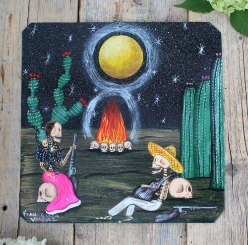 Day of the Dead Tin Retablo Skeleton Revolutionaries Oaxaca Mexican Folk Art
