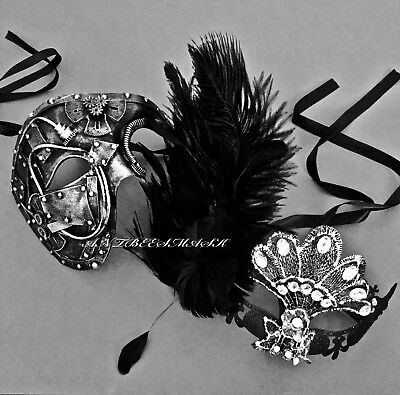 Venetian Fantasy Black Silver Masquerade Ball Party Phantom & Feather Lace - Fantasy Mask