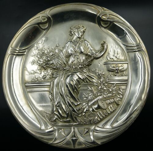 ART NOUVEAU WMF Silver Plated Figural Wall Plaque Maiden with Roses, ca 1890