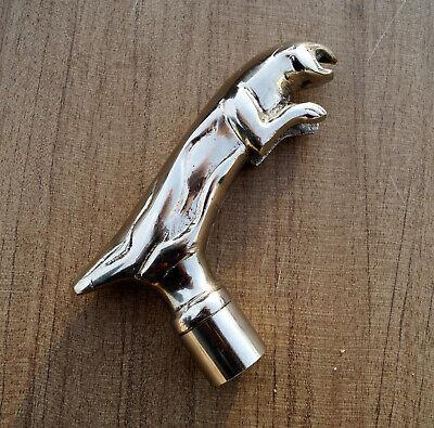 Brass handle jaguar style head vintage handle for walking stick cane top topper