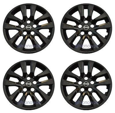 Set (4pcs) BLACK Hubcap Wheelcover fits 2013 - 2018 Nissan ALTIMA 16