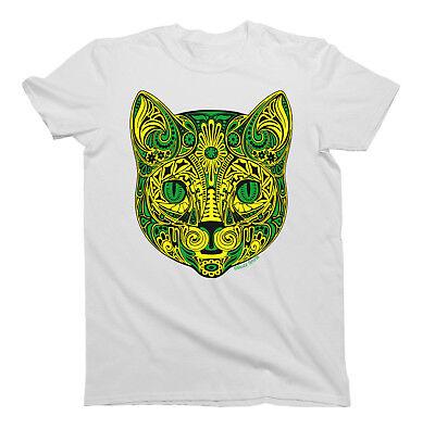Tribal Flower CAT T-Shirt Mens Animal Pet Cats TATTOO ART Gift Tee Shirt (Tribal Cat)