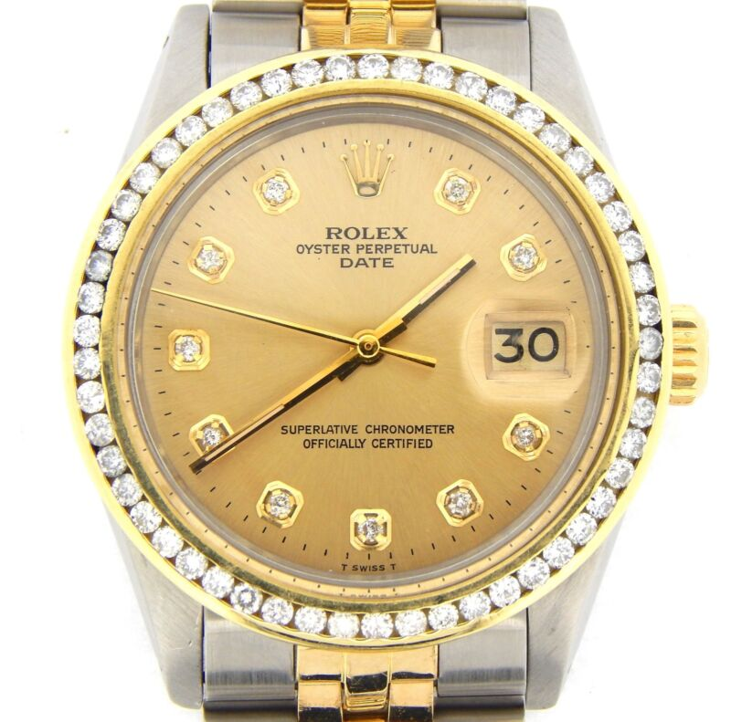 Rolex Date Mens Stainless Steel Yellow Gold Watch Diamond Dial & Bezel Champagne