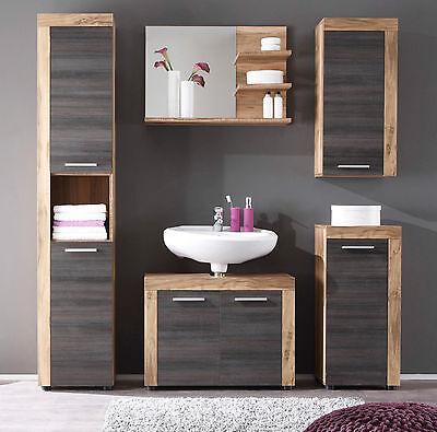 Freistehende Badezimmer-spiegel (Badezimmer Badmöbel Set Nussbaum Touchwood mit Hochschrank Hängeschrank Cancun)