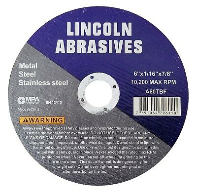 25 Pack 6 X 116 X 78 Cut-off Wheels Cutting Discs Stainless Steel Metal