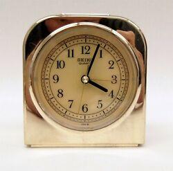 Vintage Seiko QEJ302G Gold Tone Bedside/Desk Alarm Clock Tested Works B6348