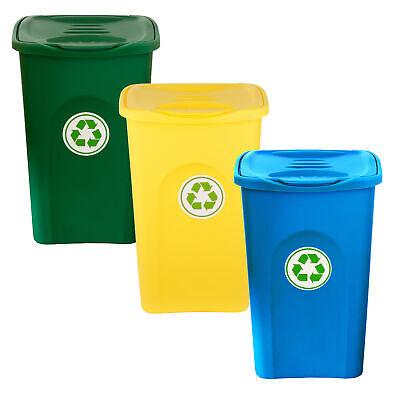 3x 50L Mülleimer Set Abfalleimer Mülltrennsystem Klappdeckel Mülltrenner Sammler