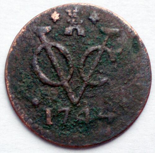 NETHERLANDS EAST INDIES, VOC ZEELAND 1 DUIT 1744  K10.3