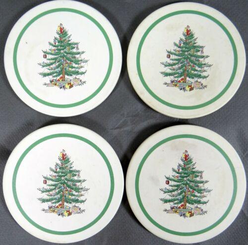Spode Drink Coaster Set Christmas Tree Holiday Thirsty Stone Cork Back Lot 4