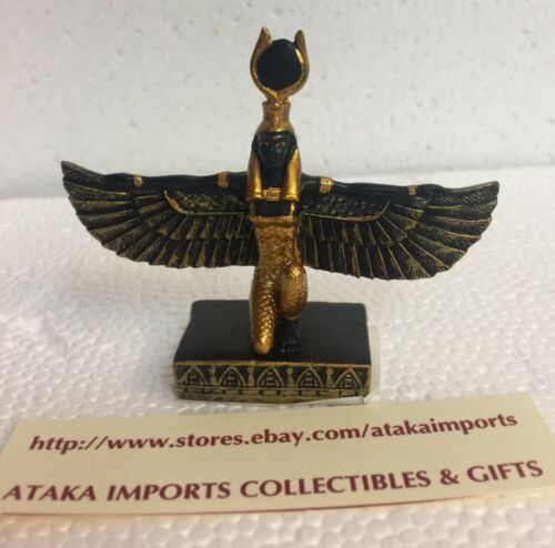 Mini Egyptian Isis With Open Wings Goddess of Magic and Nature Figurine Statue