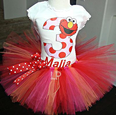 Elmo Tutu set,Sesame Steet Tutu Set,Elmo Birthday Tutu - Elmo Tutu