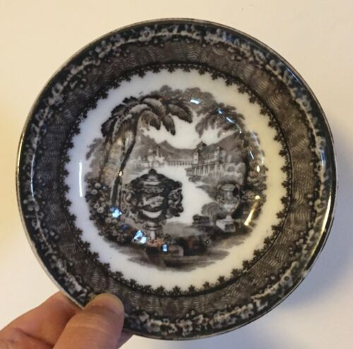 19th c. Staffordshire Black Transferware Dish Bowl Washington Urn Podmore Walker