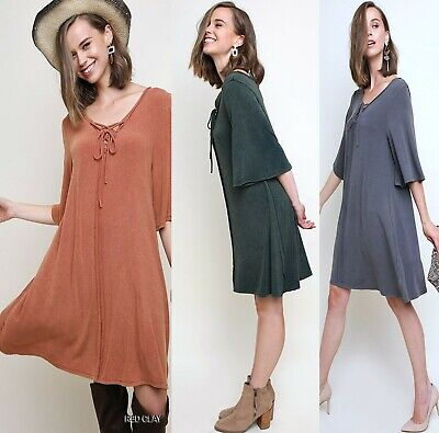 XL-PLUS 1XL 2XL UMGEE FOREST ASH or RED CLAY Mineral Wash Knit Dress/Tunic BHCS