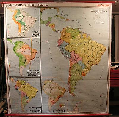 Wall Map South America 1977 184x199cm History Nasca Moche Konquista Bolivar Che