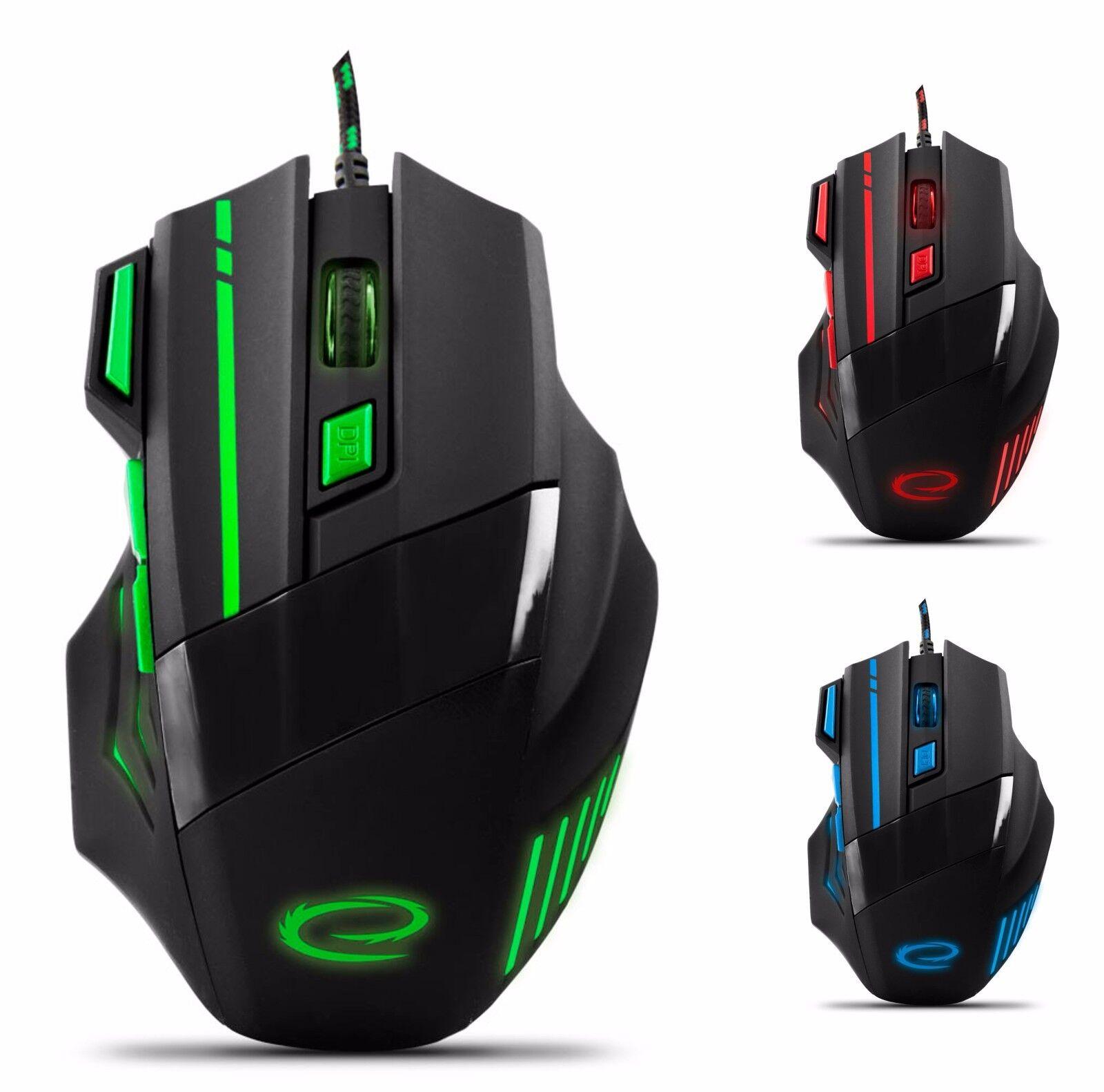 Optische Gaming Maus 7 Tasten PC 2400 DPI USB LED Beleuchtung für Spieler MX201