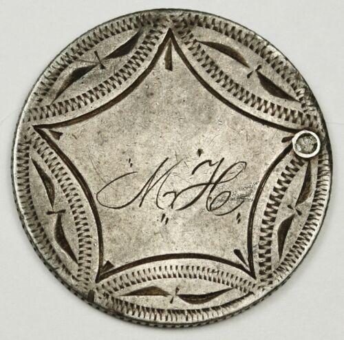 "Canada Silver Quarter.  Love Token.  ""M.H.""  136069"