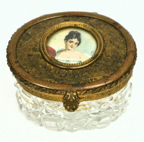 French Jewelry Box Cut Crystal Gilded Dore Bronze w/ Miniature Portrait 19th -C.