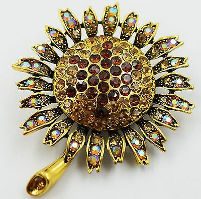 (Big Sun Flower Floral Stretch Ring Crystal Rhinestone Fashion Bling Jewelry RF08)