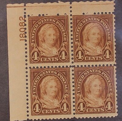 Scott 632 4 Cents Martha Washington MNH Plate Block Of 4  UL 18082 SCV - $92.50
