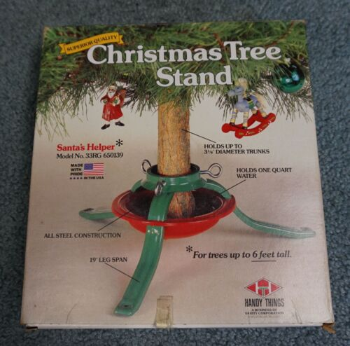 VINTAGE HANDY THINGS SUPERIOR QUALITY CHRISTMAS TREE METAL STAND USED IN BOX USA