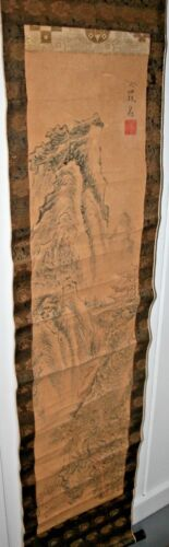 Antique Japanese Scroll Painting Paper Ike No Taiga 18c Chinese Asian Listed Art