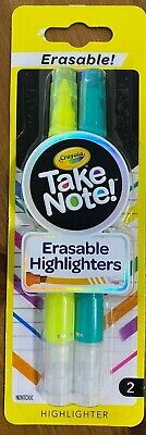 Crayola Take Note Erasable Highlighters - 2 Pack - Yellow Green - New