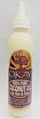 Okay 100  Pure Coconut Oil For Hair   Skin 6 Oz  Anti Dandruff   Vitamin E