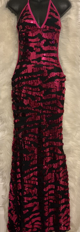 Gorgeous Pink & Black  Sequin Long Mermaid Exotic Dancer Gown One Size Fits Most