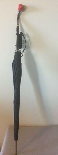 Vintage Rose Carved Handle -Elegant Black Nylon Umbrella