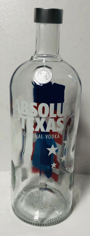 Absolut Texas Vodka 1.75L 40% Alcohol 80 Proof Imported Ahus Sweden Empty Bottle